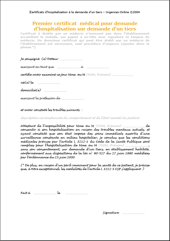 Certificats D Hospitalisation A La Demande D Un Tiers Hdt