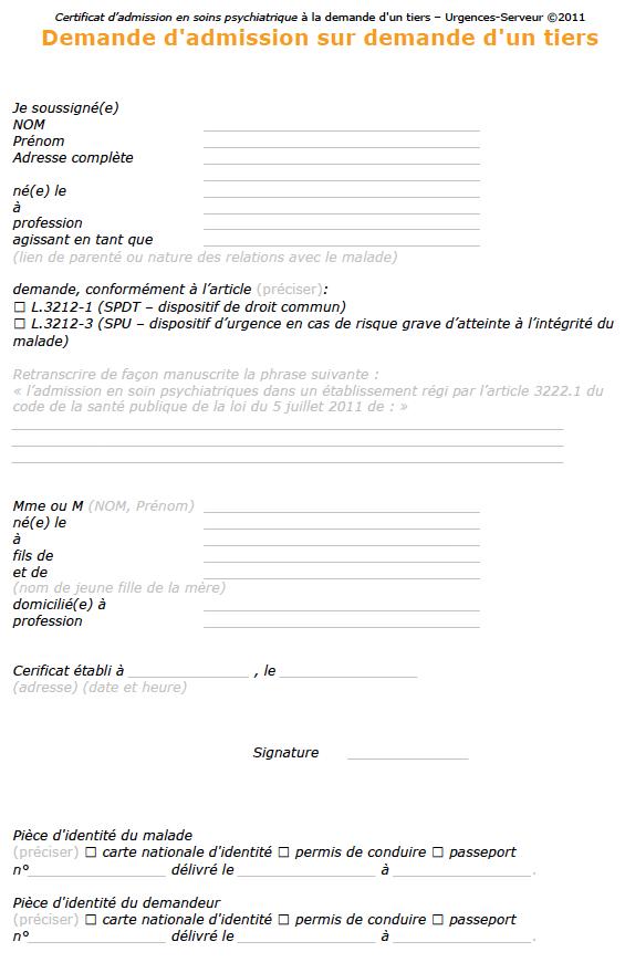 modele de lettre autorisation parentale d intervention chirurgicale Certificats d'hospitalisation à la demande d'un tiers   HDT  modele de lettre autorisation parentale d intervention chirurgicale